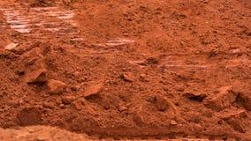Roter Lehm des Steinbruchs, Beschaffenheit Stockfotos