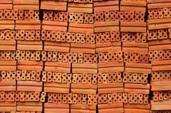 Roter Lehm-Ziegelsteine Stockbild