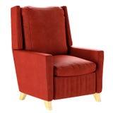 Roter Lehnsessel der einfachen skandinavischen Art mit den Holzbeinen Weiche Möbel 3d übertragen Stock Abbildung