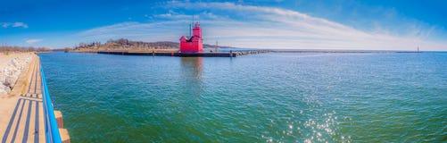 Roter Leuchtturm Bigh - Holland MI Lizenzfreies Stockfoto