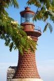 Roter Leuchtturm und Baum Stockfotografie