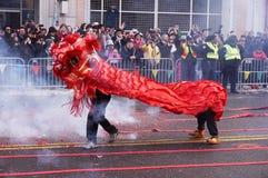 Roter Lion Dancing auf den Feuer-Crackern lizenzfreie stockfotografie