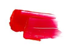 Roter Lippenstift befleckt Stockfotografie