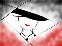 Roter Lippenstift mit einem schwarzen Anzug lizenzfreie abbildung