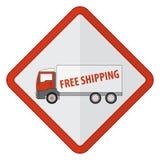 Roter LKW mit Frachtkostenlosem versand Lizenzfreie Stockfotografie
