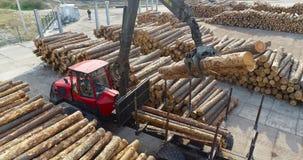 Roter LKW mit Manipulator entladen Klotz, Arbeitsmittel an einer Holzbearbeitungsfabrik stock video
