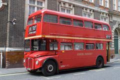 Roter London-Bus Stockfoto