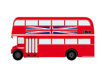 Roter London-Doubledecker-Bus mit Union Jack Lizenzfreie Stockfotos