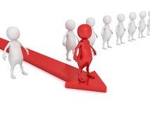 Roter Mann der Einzelperson 3d auf Pfeil beweglichem forvard heraus von der Menge Stockfoto