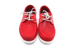 Roter Mann-Schuhe Stockfotografie