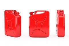 Roter Metallbenzinkanister mit freiem Raum für Ihr Design renderin 3D Stockbild