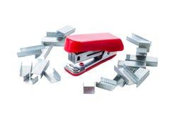 Roter Mini Stapler Stockbild