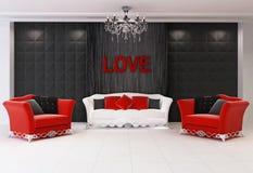 Roter moderner Innenraum mit Möbeln, zwei Lehnsessel Stockfoto