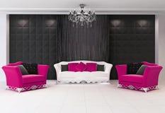 Roter moderner Innenraum mit Möbeln, zwei Lehnsessel Lizenzfreies Stockfoto