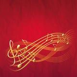Roter musikalischer Hintergrund mit Goldanmerkungen und -Violinschlüssel Stockfotografie