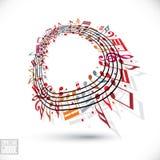 Roter Musikhintergrund mit Notenschlüssel und Anmerkungen Stockbild