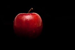 Roter, nasser Apfel auf Schwarzem Stockfotografie
