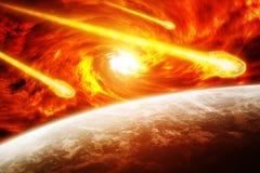 Roter Nebelfleck im Raum mit Planet Erde Lizenzfreie Stockfotografie