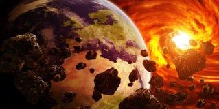 Roter Nebelfleck im Raum mit Planet Erde vektor abbildung
