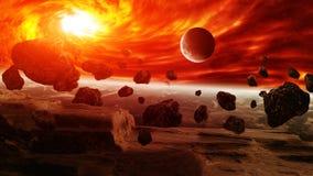 Roter Nebelfleck im Raum mit Planet Erde Stockbilder