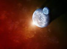 Roter Nebelfleck mit Planeten und steigendem Stern stock abbildung