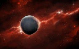 Roter Nebelfleck und felsiger Planet stock abbildung