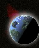 Roter Nebelfleck und Planet lizenzfreie abbildung