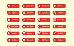 Roter Netzknopf Stockbilder