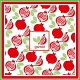 Roter neuer Granatapfelmusterkunstdesignlebensmittel-Vitaminvektor Orn Lizenzfreie Stockbilder