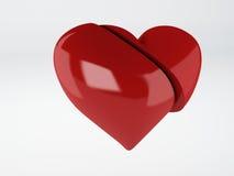 Roter OM-Weißhintergrund des defekten Herzens Stockfoto