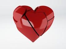 Roter OM-Weißhintergrund des defekten Herzens Stockfotografie