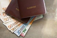 Roter PassBucheinband und Eurobanknote auf Erde tonen backgrou Lizenzfreie Stockbilder