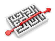 Roter Pfad über Labyrinth Lizenzfreies Stockbild