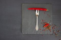 Roter Pfeffer auf einer Gabel Lizenzfreies Stockfoto