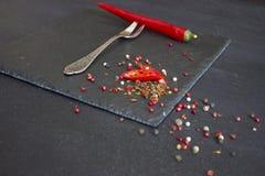 Roter Pfeffer auf einer Gabel Lizenzfreie Stockfotografie