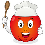 Roter Pfeffer-Charakter mit Chef Hat Stockfoto
