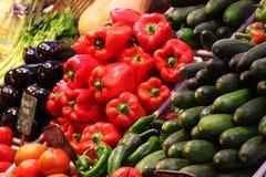 Roter Pfeffer des Paprikagewürzs auf Nahrungsmittelmarkt Stockfoto