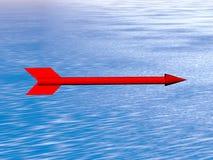 roter Pfeil über dem Meer Stockfotografie