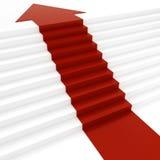 roter Pfeil 3d auf weißer Treppe Stockfoto