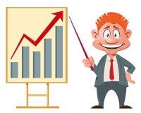 roter Pfeil auf dem checkered Hintergrund Lächelnder Geschäftsmann, der eine Darstellung macht Stockfoto