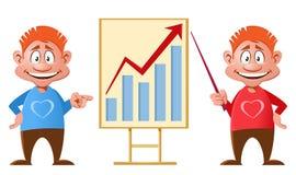 roter Pfeil auf dem checkered Hintergrund Lustige Karikaturmänner, die eine Darstellung machen Stockfotos