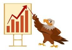 roter Pfeil auf dem checkered Hintergrund Weißkopfseeadler, der eine Darstellung macht Lizenzfreies Stockfoto