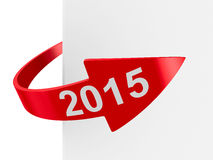 Roter Pfeil auf weißem Hintergrund Stockbilder