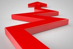 Roter Pfeil auf weißem Hintergrund Lizenzfreie Stockfotos