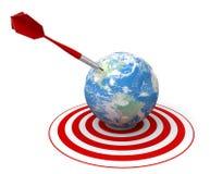 Roter Pfeil auf Weltziel Lizenzfreie Stockfotos