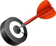 Roter Pfeil, der das Ziel schlägt Lizenzfreies Stockfoto