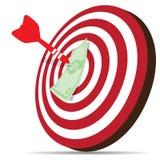 Roter Pfeil, der Geld auf Ziel schlägt Lizenzfreie Stockfotos