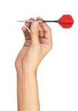 Roter Pfeil in der Hand stockfoto