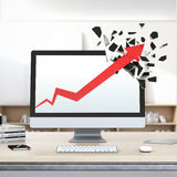 Roter Pfeil des Wachstums bricht Computeranzeige Stockfotografie