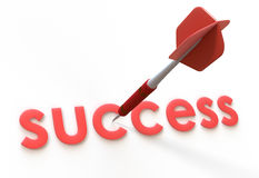 Roter Pfeil- und Erfolgstext Stockbild